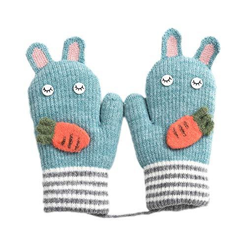 Da.Wa 1 Paar Winter Thicken Warme Handschuhe Cartoon-Form Futter Fäustlinge Weihnachten Hellblau Flip Mitt