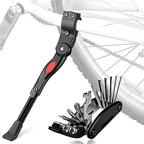 Fahrradständer mit Multifunktion Tool, oziral Universal Seitenständer faltbarer Fahrrad Ständer Einstellbarer mit Anti-Rutsch Gummi Fuß Aluminiunlegierung für Mountainbike, Rennrad, Faltrad (Black)