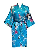 Surenow Kimono de Femme Motif Exotique Paon Fleur Kimono Satin Soyeux Peignoir