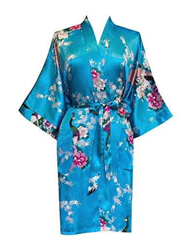 Surenow Mujer Vestido Kimono Pavo & Flores Satén Albornoces Pijamas