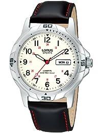 cbb5a8829d8 Lorus RXN99CX9 Day Date Stitched Strap Watch