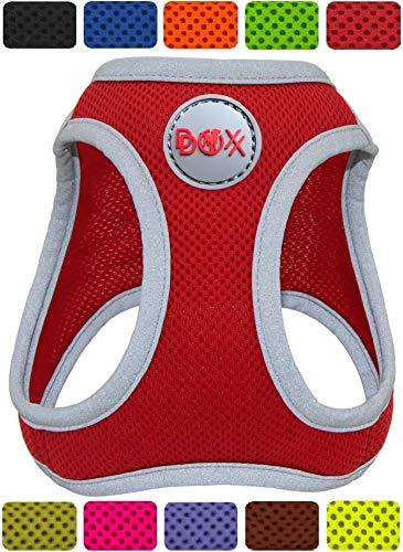 DDOXX Brustgeschirr Step-In Air Mesh reflektierend in vielen Farben & Größen für kleine, mittelgroße & große Hunde | Hundegeschirr klein groß verstellbar | Geschirr Hund Welpen Auto | Rot, M -