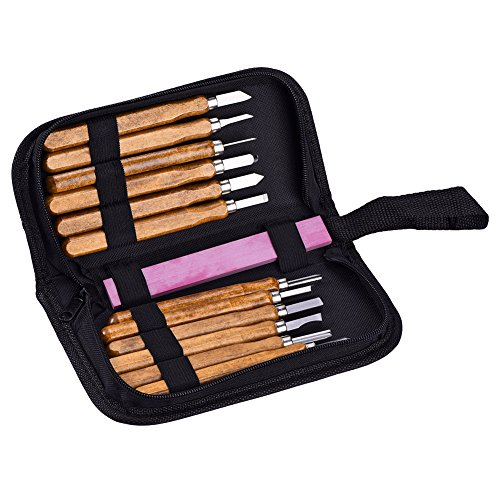 TOOLTOO Holzschnitzerei Werkzeug Set Carbon Steel Meißel Set Carving Tools Messer Kit mit einem roten Whetstone und Aufbewahrungstasche, geeignet für Profis und Anfänger, Set von 12 (Whetstone Kit)