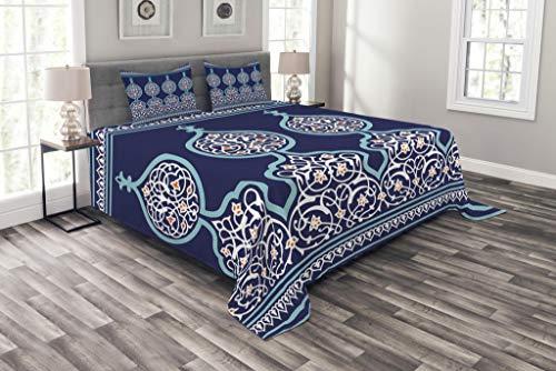 ch Tagesdecke Set, Mystic Oriental Entwurf, Set mit Kissenbezügen Waschbar, für Doppelbetten 220 x 220 cm, Teal Royal Blue ()