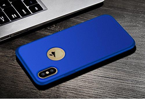 iPhone X Handycover, MOONMINI Ultra Dünn Soft TPU Silicone Stoßfest Slim Fit Handy Tasche Case Anti-Kratzer Schutzschale Anti-Drop Full Body Schutzhülle für iPhone X Blau Blau