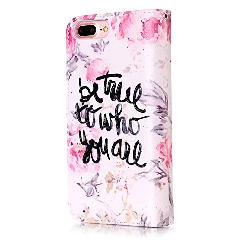 Cover iPhone 7 Plus, Custodia iPhone 8 Plus a Libro, Flip Portafoglio Cover in Pelle + Bumper Custodia in Silicone TPU Morbido, Surakey Elegante Full Body Protezione Posteriore iPhone 7 Plus Custodia  Fiore Frase