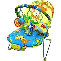 Sillón reclinable Just4baby, con vibración, con 4 juguetes colgantes, diseño de mono, con melodías musicales