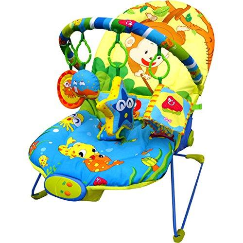 Just4baby, Babywippe, Liegestuhl, mit Musik und 4hängenden Spielzeugen, angelnde Affen