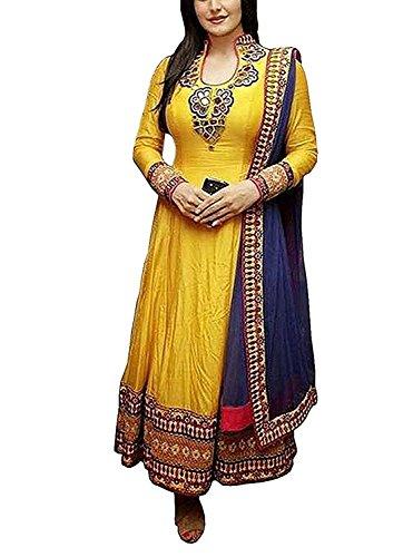 Florence Women\'S Hevy Cotton Dress Material Salwar Suit Set(SL026)(Yellow_FreeSize)