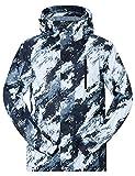NEWISTAR Chaquetas de Snowboard para Hombres Desmontables con Capucha Bluish White Snowproof a Prueba de Viento Transpirable Warm Boys Ski Chaquetas más Grandes