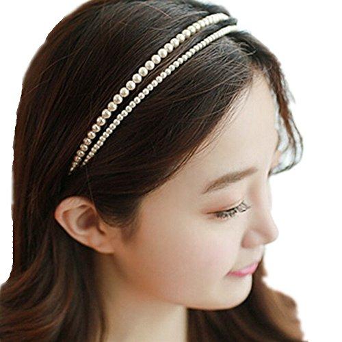 LI&HI Vintage Exklusive Custom Retro elegant Damen Süß Doppel-Perlen Haarbänder Haarbänder Stirnband Haarreif Haarschmuck Stirnschmuck Hochzeit Haar wrap (Damen Doppel Wrap)