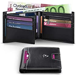 Portafoglio Uomo RFID Blocking con cartoline e borsa,Trifold Slim Portafogli in vera pelle con tasca con cerniera,15 porta carte di credito e portautensili.Best regalo per gli uomini con scatola -Nero