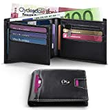 Wallets Mens RFID Blocking Genuine Leather with Zipped Coin Pocket, 15 Credit Card Holder Slots,ID Window.Trifold Slim Men Wallet with Gift BoxBlack