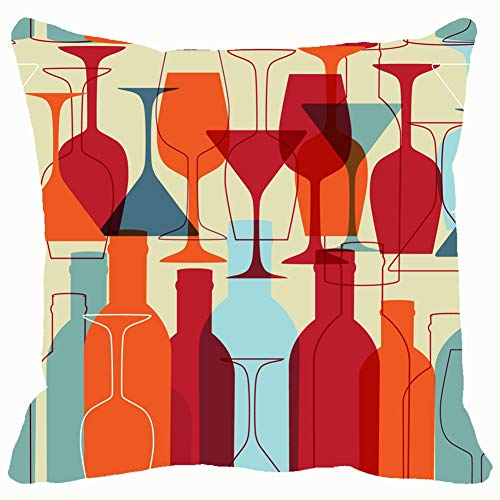 Seamless Wine Bottles Glasses Bright Backgrounds Textures Wine Backgrounds Textures Food and Drink Wine Food and Drink Throw Pillows Covers Cushion Case Pillowcase Home Sofa Couch 18 x 18 Inches Pil Pil-food