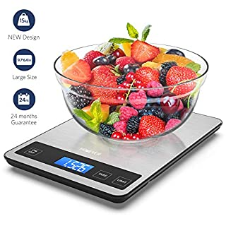 Kitchen Scales, Homever 15kg Food Scales with 9*6.3in big Panel, Stainless Steel Digital Kitchen Scales with 1g Accuracy and 5 Units(lb:oz, fl'oz, ml, g,kg)
