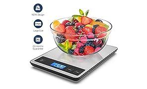 Balance Cuisine, Homever 15kg Balance Cuisine Electronique Large Plateforme, Balance de Cuisine 5 Unités de Mesure(lb: oz, fl'oz, ml, g, kg),Précision de 1g