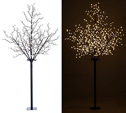 Lunartec Lichterbaum außen: LED-Deko-Baum mit 600 beleuchteten Blüten, 250 cm, für innen & außen (Beleuchteter Baum für draußen)