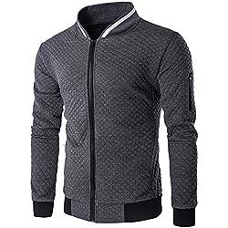 Tefamore Hommes Manche Longue Veste en Plaid Blouson à glissière Tops Veste Manteau Outwear (XL, Gris foncé)