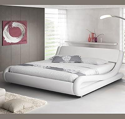 Muebles Bonitos - Cama de matrimonio de diseño Alessia en color blanco 120 x 190 cm