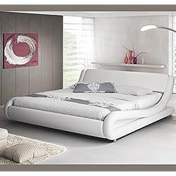 Muebles Bonitos - Cama de matrimonio Alessia 135 x 190 cm blanco