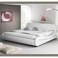 Muebles Bonitos - Cama de matrimonio Alessia 140 x 190 cm blanco