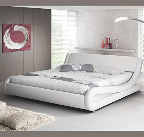 Muebles bonitos letto piazza e mezza moderno di design alessia bianco rivestito in ecopelle per materasso da 120x190cm con rete incluse