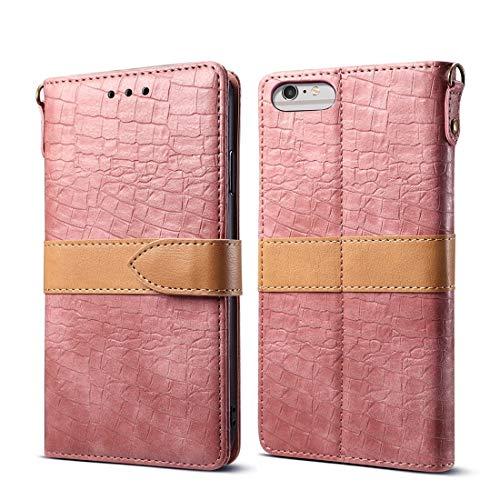 KIOKIOIPO-N Mode Spleißen Farbe Krokodilstruktur PU Horizontal Flip Ledertasche for iPhone 6 Plus / 6s Plus, mit Brieftasche & Halter & Kartensteckplätze & Lanyard (Color : Rosa) -