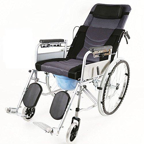 QXMEI Rollstühle Falt-Leichtgewicht All-toilet-Toiletten Multifunktionale Senioren Tragbare Rollstühle Rollstühle,D (Falt-rollstuhl)