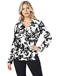 d6e2e1127a1c94 Roman Originals Womens Floral Print Blouse Top - Ladies Daywear Office  Smart Jersey Shirt - Black
