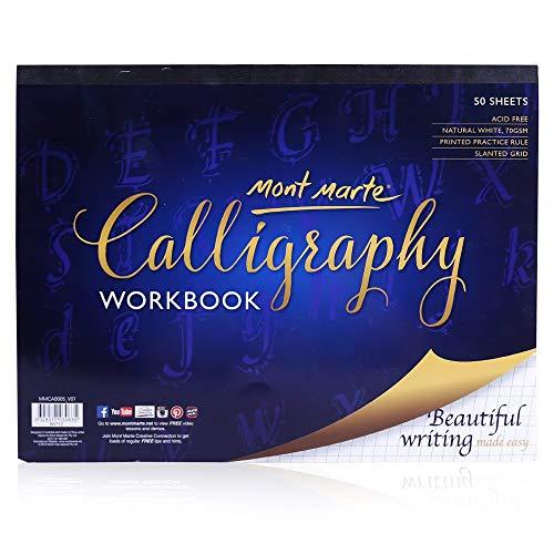 MONT MARTE Carta Calligrafia - 50 fogli, 70 g/m² - Carta di alta qualità - Blocco di Calligrafia ideale per scrittura e Lettering - Quaderno di esercizi perfetti per principianti - Con utili consigli