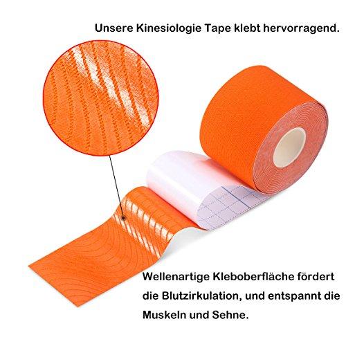Kinesiologie Tape Tapeverband 5cm Breite x 5m Rollenlänge Sport Physio Tape Zream Elastisches Therapeutisches Tape für Plantarfasziitis, Knöchel, Schienbeinkantensyndrom, Knie, Gelenk, Handgelenk, Rücken, Schulter, Hals, 6 Farben Verfügbar Dunkelblau. Zusätzlich eine Mini Universal Handy Tischhalterung - 2