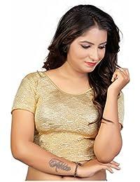 Fressia Fabrics Women's Cotton Saree Blouse Readymade Free Size Gold