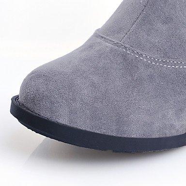 LFNLYX Damen-Stiefel-Outddor / Büro / Lässig-Kunstleder-Blockabsatz-Rundeschuh / Modische Stiefel-Schwarz / Rot / Weiß / Grau White