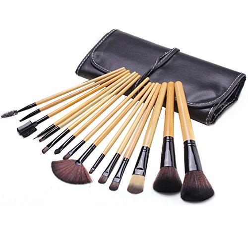 Vococal® 15 Pcs manche bois fibre artificielle visage maquillage brosse cosmétiques ensemble avec étui noir