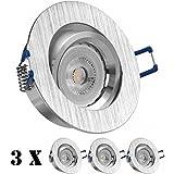 3er LED Einbaustrahler Set Bicolor (chrom / gebürstet) mit LED GU10 Markenstrahler von LEDANDO - 7W - warmweiss - 30° Abstrahlwinkel - schwenkbar - 50W Ersatz - A+ - LED Spot 7 Watt - Einbauleuchte LED rund