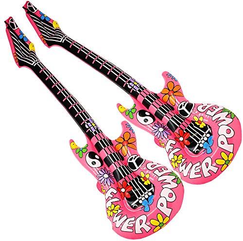 com-four® 2 aufblasbare Gitarren im Hippie-Look als witziges Accessoire, Größe: 105 cm (Luftgitarre - 2 ()