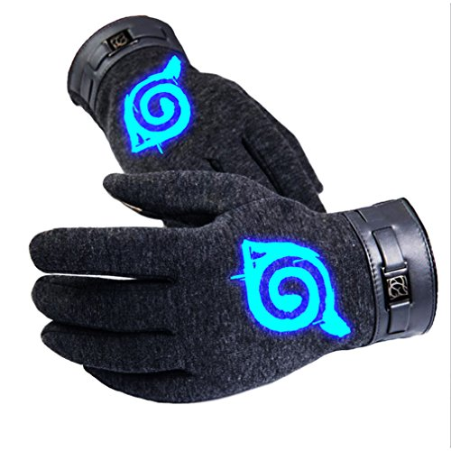Bromeo Naruto Anime Hiver Chaud Lumineux Écran Tactile Gants Gloves Mittens Gris 1