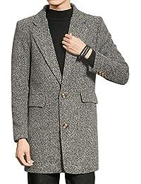 Cappotto Invernale da Uomo Warm Ntel Trench Unico Fashion Coat Tweed Giacca  Invernale Lungo Cappotto Monopetto 22e49a246c6