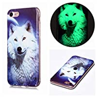 Mylne Luminous Effect Back Case Cover for iPhone SE 2020,Noctilucent Glow in the Dark Green Soft Slim TPU Gel Flexible Bumper,White Wolf