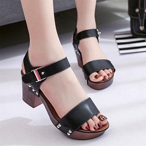Malloom® Sandalen, Frauen Damen Sommer Schaltfläche High Heel Schuhe Schwarz