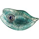 CAR Bomboniere P019700 Mesa de centro de cristal turquesa y plata, Colección Pavone, Diámetro 25 cm