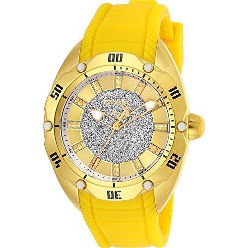 Invicta Women's Venom Yellow Silicone Band Steel Case Quartz Watch 26148