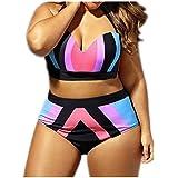HP95(TM) Womens Large Size Swimsuit High Waist Push Up Bikini Set Beach Bathing Suit Swimwear (XXL)
