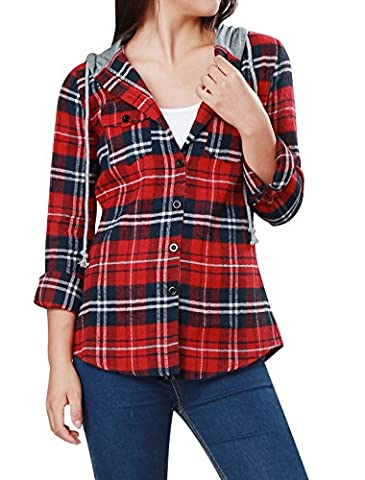Allegra K Woman Flap Patch Pockets Hooded Plaid Shirt Top