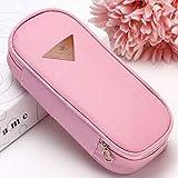 XINGSd Durable 1Pcs Cute Large Capacity Pen Pencil Case Pen Box School Stationery Cosmetic Bag(None Pink)