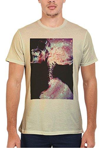 Skeleton Skull Galaxy Space Tumblr Men Women Damen Herren Unisex Top T Shirt Sand(Cream)