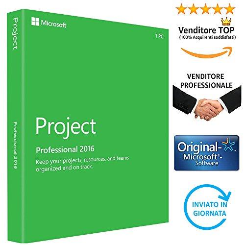 MICROSOFT PROJECT 2016 PROFESSIONAL - Licenza Perpetua | Licenza Elettronica ESD | (Nessun canone Nè abbonamento) | Invio in giornata tramite email Amazon | Regolare Fattura