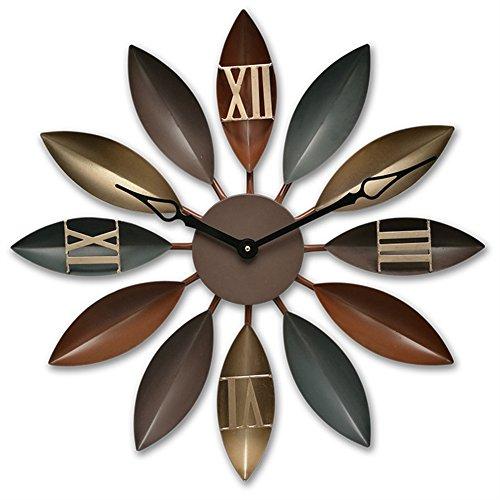 ADFHGFJ Quarz stilles Wanduhr Industrielles Wind Eisen antikes Blatt dekorative Wall Clocks, 001 -