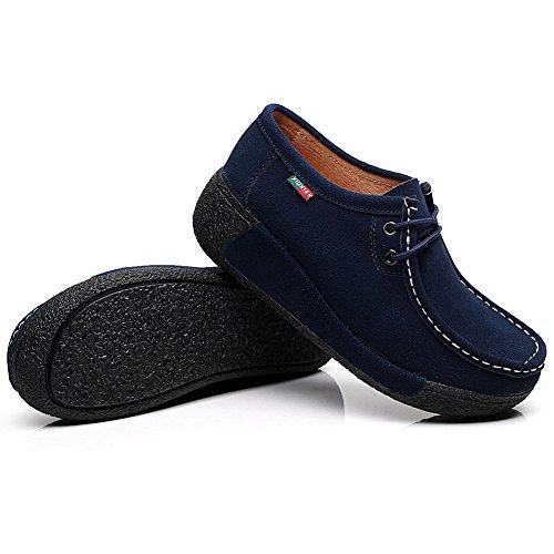 Shenn Damen Plattform Cchnüren Sich oben Gehende Klassische Wildleder Fashion Sneakers Marine