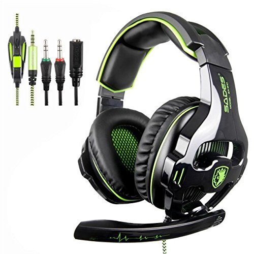 Neue SADES SA810 3.5 mm Neue Xbox one PS4 Gaming Headset, Gaming Kopfhörer Gaming mit Mikrofon für neue Xbox one/PS4/PC/Laptop(schwarz&Grün)